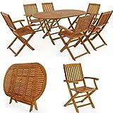 Deuba | Ensemble de Jardin 6+1 • en Bois d'acacia certifié FSC® • Boston • 1 Table et 6 chaises Pliables | Salon de Jardin