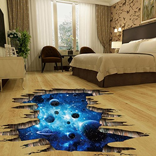 Indexp 3D Removable Bridge Sky Moon Beach Floor/Wall Sticker Vinyl Art Living Room Decors Decals (Planet)