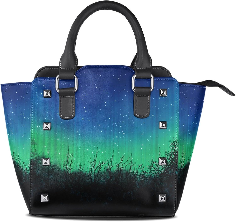 Sunlome bluee Dark Night Sky with Many Stars Print Handbags Women's PU Leather Top-Handle Shoulder Bags