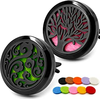 2PCS Car Diffuser Aromatherapy Essential Oil Vent Clip Stainless Steel Black Locket Tree of Life and Cloud with 10 Felt Pads