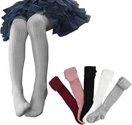Ehdching 5 Pack Cute Cable Knit Cotton Tights Pantyhose Leggings Stocking Pants for Baby Toddler Kids