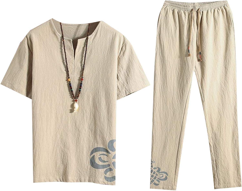 Tootca Men Classic Fit Cotton Linen ShortSleeve Tees Shirt 2pcs