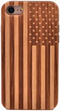 iPhone 6S Case American Flag US Pattern Wood Case Handmade Carving Real Wooden Case Cover with Rubber Case Back for Apple iPhone 6,iPhone 6S