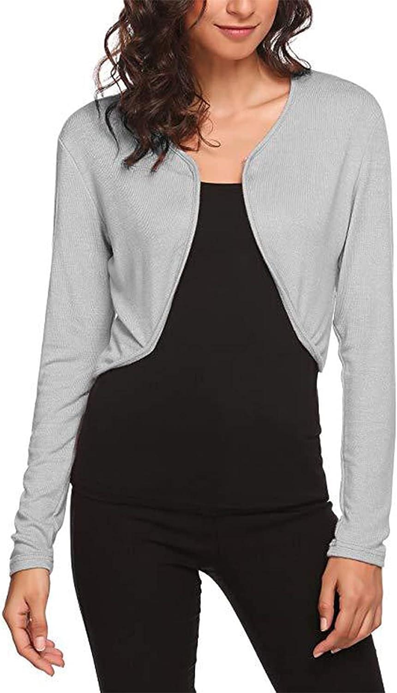 Women's Long Sleeve Ribbed Knit Bolero Shrug Shawl Open Front Cropped Sweaters Cardigan Jacket