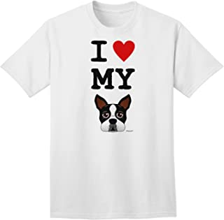I Heart My Boston Terrier Adult T-Shirt
