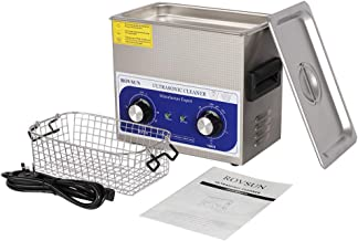 ROVSUN Ultrasonic Cleaner, Knob Control Timer Heater Adjustable Stainless Steel Ultrasonic Cleaning Machine, for Jewelry Watches Dentures Glasses Metal Parts, 3L/6L/10L 40KHz 110V US Plug (3L)