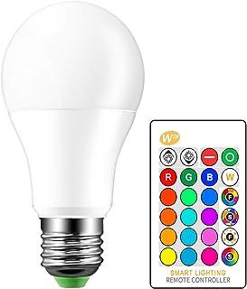 ONEVER - Bombilla LED RGB, bombilla de cambio de color, regulable, 10 W, E27, rosca base RGBW, 16 opciones de color, mando a distancia por infrarrojos incluido – 30 W equivalente (1 paquete)