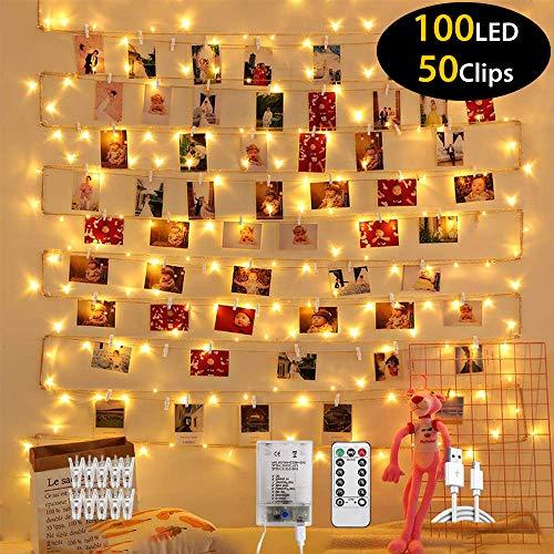 Elekin LED Foto Clip Lichterkette für Zimmer, 10M 100LEDs USB Lichterkette Draht mit Fernbedienung, 8 Modus, Stimmungslichter für innen, Haus, Party, Weihnachten, Hochzeit, Schlafzimmer, DIY(Warmweiß)