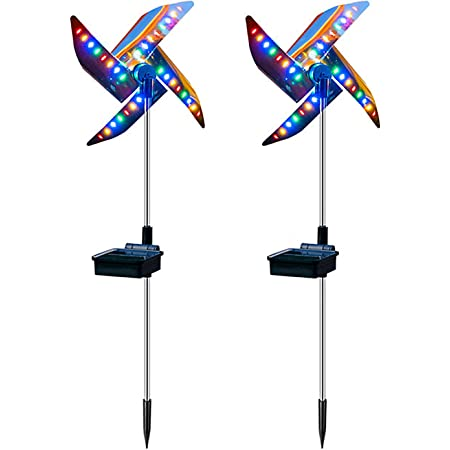 HYKITDAY 2 PCS Solar Wind Spinner, Windmill Garden Lights Outdoor Metal Stake Yard Spinners Outdoor Decorative Windmill for Yard and Garden