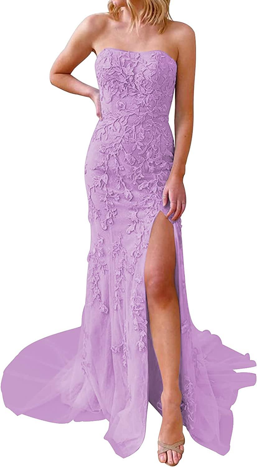 Prom Dress Lace Formal Evening Gowns Mermaid Strapless Evening Dresses with Split Prom Dresses