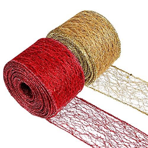 LIHAO 2 Rolle Schleifenband Weihnachten Gold Rot Geschenkband Dekoration Weihnachtsband zum Basteln für Weihnachten Geschenkverpackung…