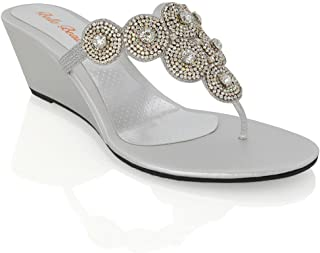 Essex Glam Womens Diamante Sparkly Wedge Heel Synthetic Toe Post Sandals