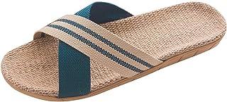 Kenmeko Ciabatte Donna/Uomo Moda Lino Antiscivolo Scarpe da Interno per Donna Punta Aperta Scarpe Basse Spiaggia