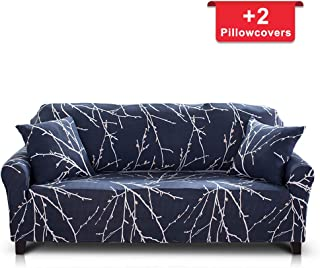 Hipinger Spandex Fabric Stretch Couch Cover Sofa Slipcover Stylish Furniture Protector for 3 Cushion Couch (3 Seater, Tree Branch)
