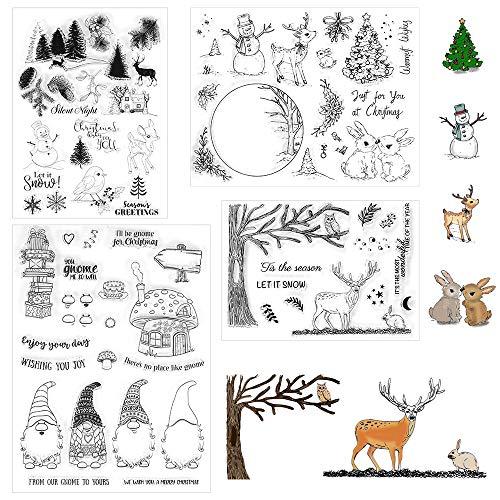 Stempel Weihnachten, 4 Blätter Clearstempel Weihnachten, Frohe Weihnachten Stempel, Silikonstempel Winter, Transparent Stempel Stanzschablonen für DIY Scrapbooking, Kinder Weihnachten Geschenke