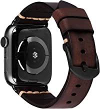 iBazal Compatible with Apple Watch Band 42mm 44mm,Genuine Leather Strap with Black Clasp Replacement for iWatch Series 6 S...