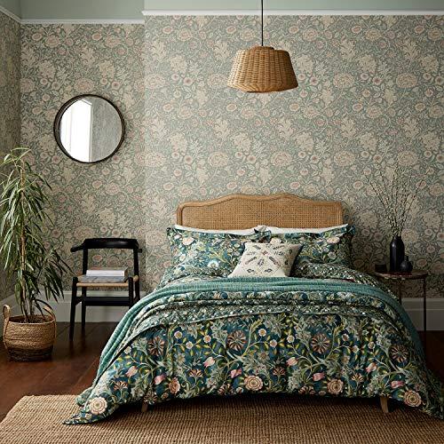 Morris & Co Wilhelmina - Funda de edredón 100% algodón orgánico, 220 Hilos, Doble, Color Verde Azulado
