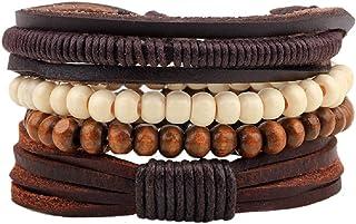 AZURECASTLE Genuine Leather and Hemp Cord Wooden Beads Stacking Bracelets Men Women Unisex Jewelry 4 pc Set