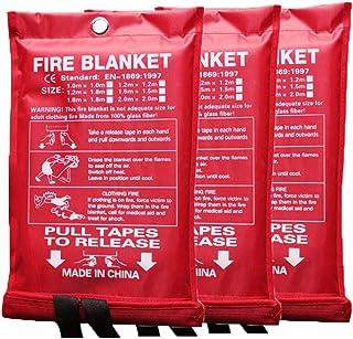 Fiberglass Fire Blanket Kitchen Flame Retardant Fire Safety Blanket Emergency Survival Kit for Kitchen Fireplace Grill Car...