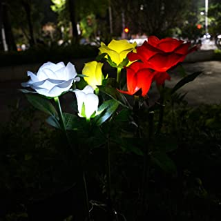 Momangel Solar Powered 20 LED Rose Pendant Light Garden Christmas Party Decor Lamp Color Light Garden Decor