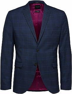 Selected Men's Slhslim-mylologan Bl/BRW Chk BLZ B Noos Suit Jackets