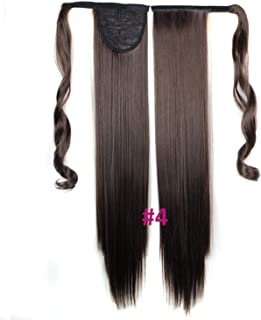 60Cm Long Straight Clip In Hair Tail False Hair Ponytail Hairpiece With Hairpins Synthetic Hair Pony Tail Hair Extensions,#4,24Inches
