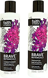 Faith In Nature Brave Botanicals Lavender and Jasmine Body and Bounce Shampoo and Conditioner Duo 250ml
