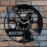 jjyyy Alcohol Art Martini Disco de Vinilo Reloj de Pared Bebida Hombre Decoración de cóctel Regalo de cumpleaños Arte de Pared de Martini Reloj de Pared de cóctel alcohólico Moderno