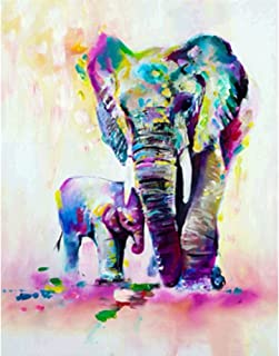 MXJSUA 5D Diamond Painting by Number Kit DIY Crystal Rhinestone Cross Stitch Embroidery Arts Craft Picture Supplies for Home Wall Decor,Elephant and Her Baby 12x16In