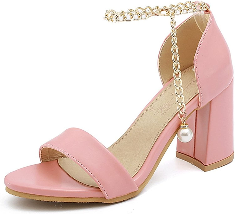 GIY Women's High Heel Sandals Ankle Strap Open Toe Block Chunky Wedding Evining Pearl Pump Dress Sandals