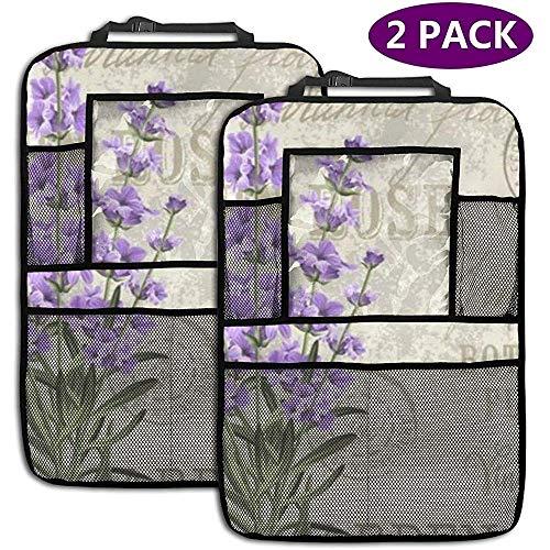 XZfly Elegant Ansichtkaart Lavendel Bloemen Vintage Bloemen 2 Pack Achterbank Auto Organizer Auto Terug Seat Protector Kick Matten voor Kids Fit