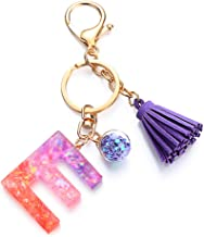 KUNHEV Hars sleutelhanger eerste kleurrijke A-Z letters handtas accessoires kwastje brief hanger sleutelhanger (E)