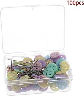 YOURPAI Push Pin, 100 Pcs Push Pins Style Bouton Aiguilles De Positionnement pour Patchworks De Couture Manuelle