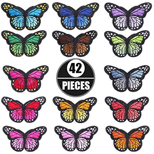 Litthing Farfalla Ferro Patch Farfalla Toppe Termoadesive in Tessuto Colorati Butterfly Adesivi Ricamato Distintivi Applique Patch Fai da Te per Vestiti Giacche Zaini Jeans Cappelli (Stile1 42Pcs)
