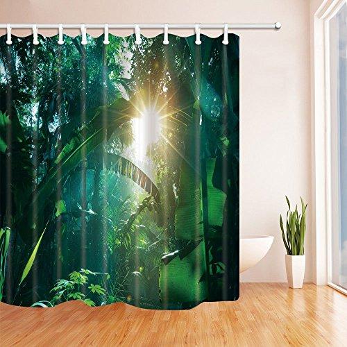 gohebe tropischen Regenwald Decor Sunshine in die Banana Leaves Duschvorhang Polyester-180x180cm Schimmelresistent-Badezimmer Fantastische Dekorationen Bad Vorh?nge Haken im Lieferumfang enthalten