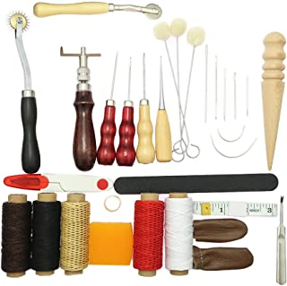 Baoblaze 31 Pieces Leather Craft DIY Hand Stitching Sewing Tools Thread Awl Waxed & Thimble