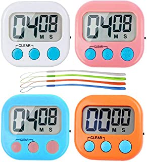 Digital Kitchen Timer, Big Display Screen, Loud Alarm, Strong Magnetic Backing Stand, Cooking Baking Kids Classroom Teacher Game Timers, Minute Seconds Count Up Countdown and Simple Operation(4 Pack)