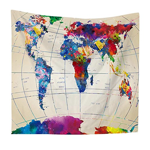 Luxsea Vintage Watercolor World map Print Home Tapestry 59' X 51'