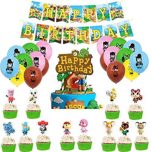 Animal Forest Party Decoration ,Friends Themed Birthday Decorations,Pull Flag Cake Insert Balloon Set,Friends Theme TV Show Party Supplies