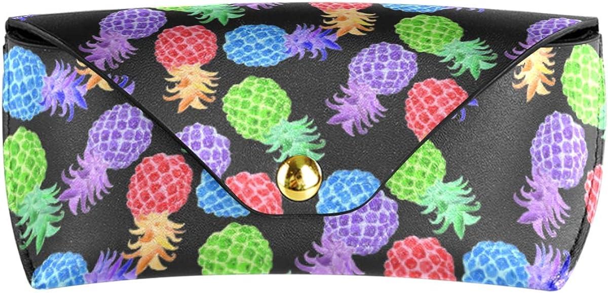 PU Leather Goggles Bag Sunglasses Case Eyeglasses Pouch Rainbow Pineapple Holder Multiuse Portable