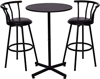 COSTWAY 3 Piece Bar Table Set with 2 Stools Bistro Pub Height Circular Table and Chairs Set Kitchen Dining Furniture