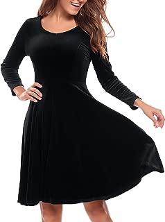 Women's Dress Long Sleeve Party Dress A Line Flared re Dress Knee Length Swing Dress