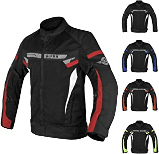 ALPHA CYCLE GEAR BREATHABLE BIKERS RIDING PROTECTION MOTORCYCLE JACKET MESH CE ARMORED (RED SPARROW, XXX-LARGE)