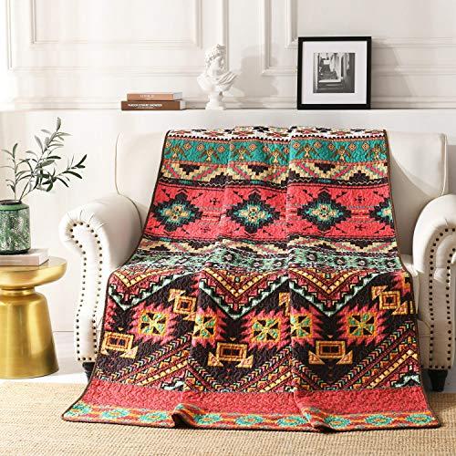 Qucover Tagesdecke Bettüberwurf aus Mikrofaser Gesteppte Indische Decke 150 x 200 cm Boho Exotik