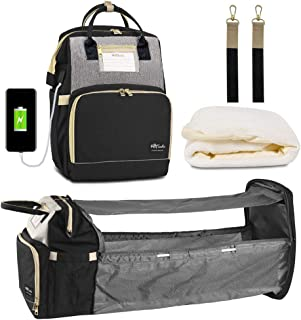 Happy Luoka Diaper Backpack with USB Charge Port,Extendable Nappy Bag Travel Backpack for Baby Stuffs Organize with Changi...