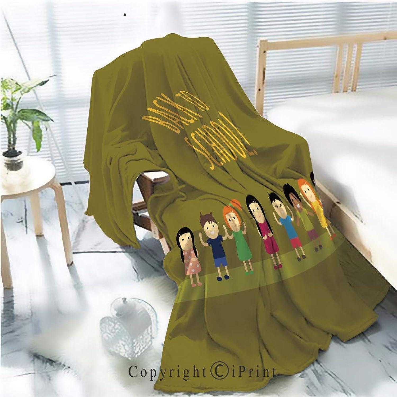 Printed Soft Blanket Premium Blanket,Different Pupils Kids Back to School Vector Illustration Microfiber Aqua Blanket for Couch Bed Living Room,W59.1 xH78.7