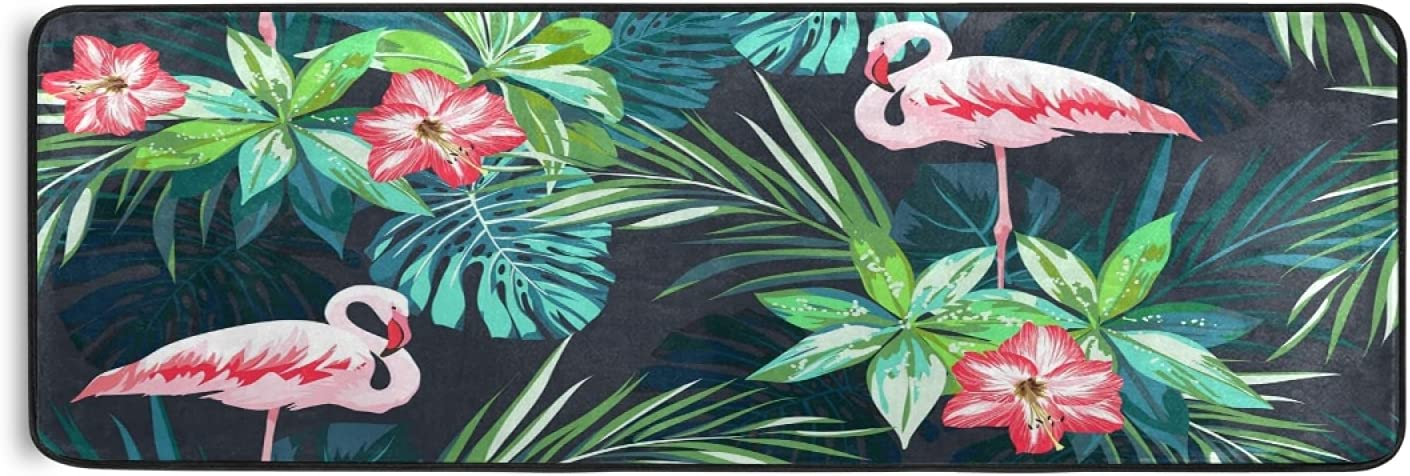 Nander Tropical Flamingo Design Hallway Rug Kitchen Ranking TOP1 Regular dealer Non- Runner