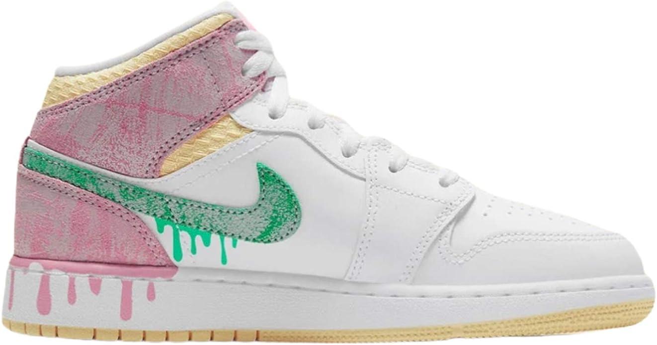 Amazon.com: Nike Air Jordan 1 Mid Paint Drip Grade School GS Youth ...