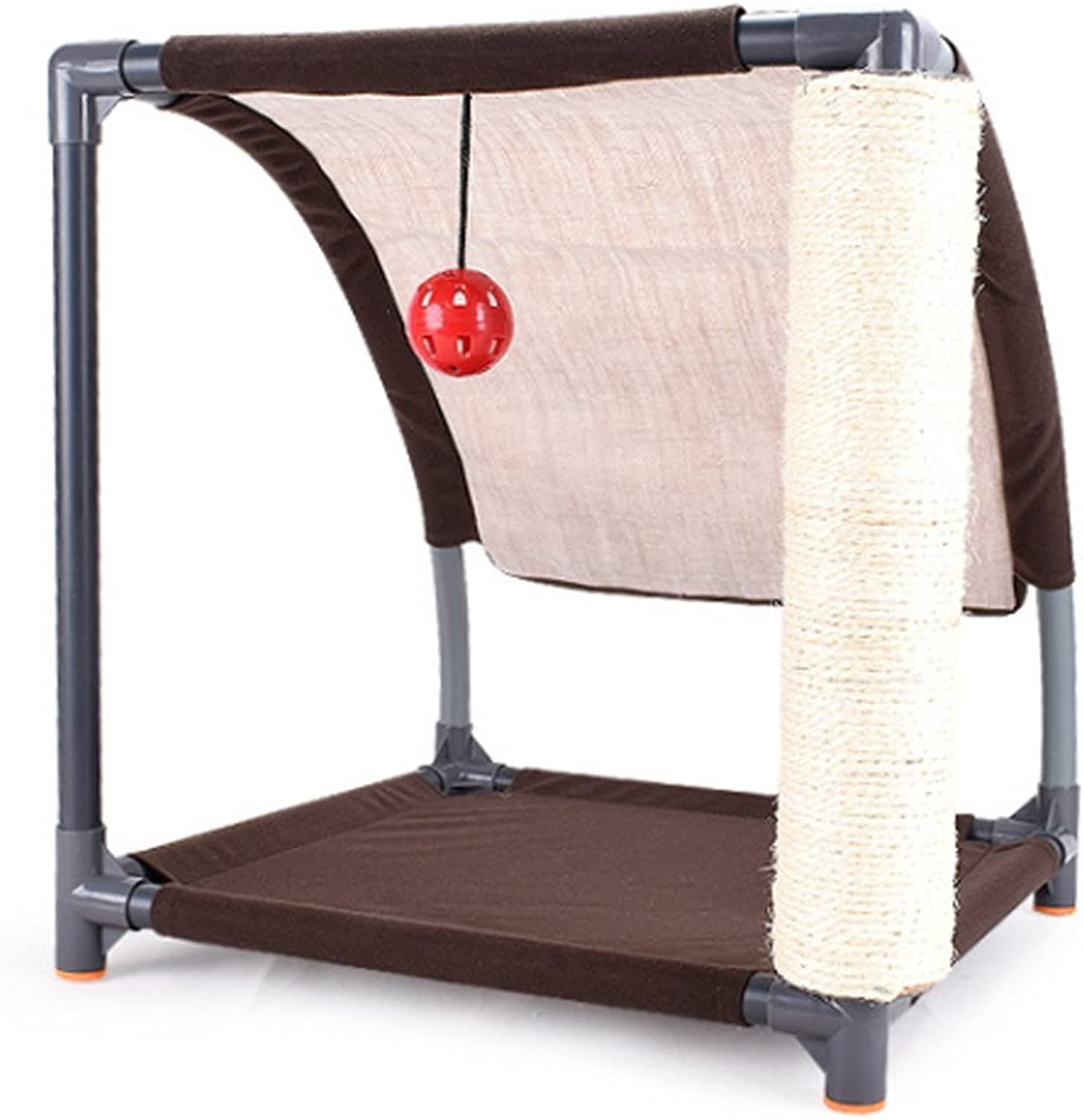 Cat Tree Play Tower Compact Hanging Ball Oxford Cloth Sisal Pad Travel Tent Brown