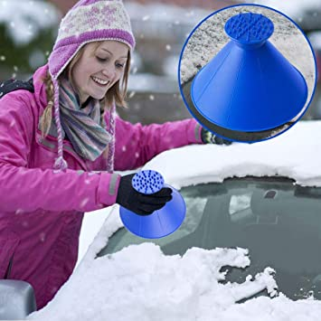 YQHbe Ice Scraper Auto, Round Ice Scraper For Car Cone A Round Magic Windshield Ice Scraper Snow Shovel Tool Winter Snow Brushes 2 In 1 For Trucks, Vans and SUV: image